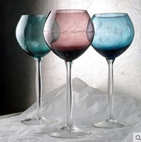 Free Shipping 220ML 21.5cm Lead-free Crystal Black Red Wine Cup Glass Safest Package with Reasonable Price