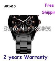 NEW AR1410 1410 BLACK CERAMIC ROSE GOLD CHRONOGRAPH MENS WATCH+ invoice original box