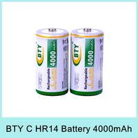 2PCS BTY High-capacity 4000mAh C Size 1.2V HR14 Ni-MH Rechargeable Battery C Type Drop Shipping