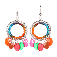 325 Festival Promotion HYE1130Free Shipping Fashion Hot Sell Personality Mix Color Resin Wafer Drop Earrings