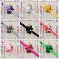 12 pieces/lot pearl flower soft elastic baby girls hair band infant Sequin hair bows headbands 2014 newborn hair accessories