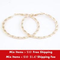 Min. order is $10(mix) 2014 New ARRIVAL European and American fashion girls earring metal big circle ladies Hoop earrings