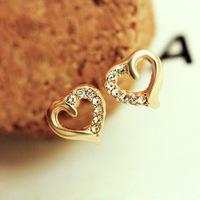 2014 Fashion Earring Heart-shaped Women Earrings Crystal Stud Earrings Gold Earings for Women ML-360