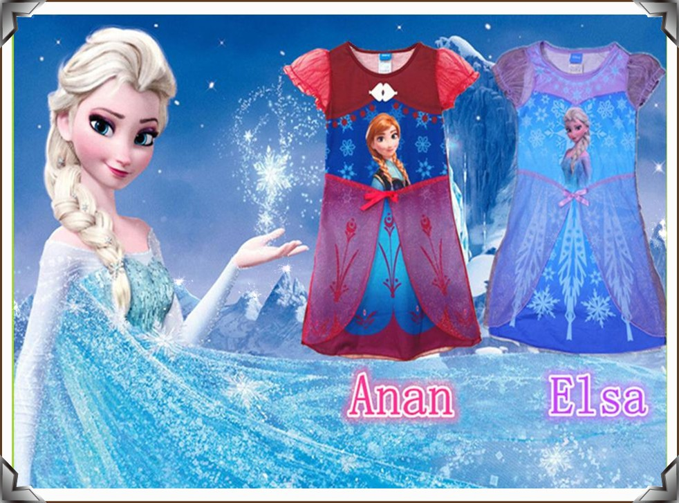 Best Quality Frozen Dress Summer Casual Girl dress Frozen Elsa Princess Dress 4-10 Years Children's Clothes(China (Mainland))