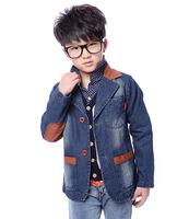 New listing spring autumn male child spring denim clothing, fashion children's stitching denim coat, denim jacket