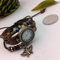 The butterfly leather  bracelet  girl's watch