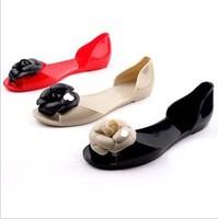 Women's Sandals 2014 Summer Beach Bohemia Camellia sandals flat heel peep-toe Jelly Shoes slipper
