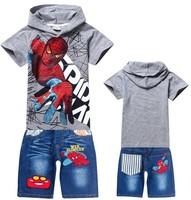 1pcs New 2014 Boys nova top shorts t-shirts for kids baby children's spiderman sets cartoon children t shirts+pants set clothing
