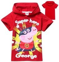 1pcs New 2014 girls Peppa Pig george nova top shorts t-shirts for kids wear baby children's children t shirts clothing