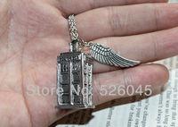 Free shipping 15pcs/lot Bronze/Antique silver/Blue color doctor who TARDIS police box pendant  necklace,Men's women's necklace