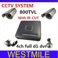 4ch CCTV System 800tvl 3.6mm indoor/outdoor waterproof IR Cameras Network D1 DVR Recorder Security Camera System DVR Kit