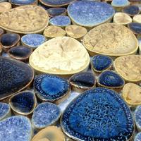 Glazed porcelain pebble tile ocean blue beige backsplash kitchen bathroom designs shower wall coverings tiles uk mosaics sheets