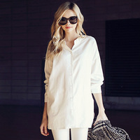 2014 spring Fashion white casual long sleeves Women blouse linen blouse