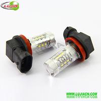Free shipping High Power Samsung LED Car fog running light bulbs H8 80w white 12V 24V lamp, fog led lamp