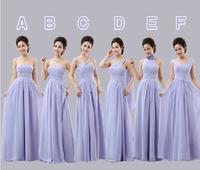 2014 New Sexy Elegant Fashion 6 Styles long chiffon bridesmaid dress under $50 (pink, purple, champange color)