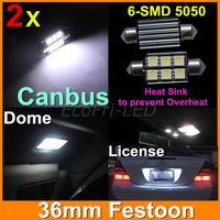 Xenon White Canbus No Error Festoon 36mm 6SMD 5050 LED DE3425 6418 6411 C5W Car Auto Interior Dome License Plate Light 2pcs