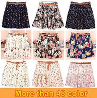 Hot sale ,21 Colors Pleated Floral Chiffon Women Ladies Cute Mini Skirt Belt Include