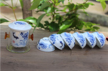 Freeshipping 10pcs black tea travel set glass kung tea set device blue and white porcelain tea