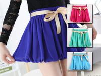 2014 summer candy color girls chiffon skirt shorts hot pants with ribbon belt, women high waisted elastic waist bloomers