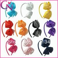 10 pieces/lot High Quality Sequin Hair bow Hair Band  Ribbon Hair Bow Headband For Girls Children Accessories  CNHB-1403111