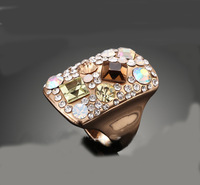 Fashion Brand Rings New Arrival 18K Gold Plated Pink Austria Crystals Jewelry Cute Gorgeous Wedding Ring For Women MYZ034