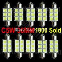 10pcs Xenon White 36mm Festoon 5050 SMD 6 LED C5W Car Led Auto Interior Dome Door Light Lamp Bulb Pathway lighting 12V Work Lamp