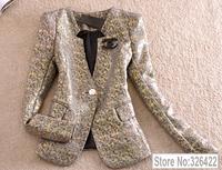Autumn Winter Outerwear Office Ladies Elegant Vintage Fashion Slim Coat Suit Jacket  And Blazer Women Branco Feminino 2014
