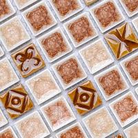 Porcelain mosaic tile kitchen bath backsplash flooring inner crack wall sticker mosaic sheets free sample swimming pool tiles