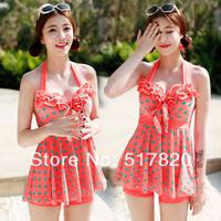 Free shipping Korean bikinis 2014 swimwear women wire push up bikini set dot swim dress multicolor high waisted bathing suits