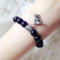 Top quality,fashion new beautiful10mm dark blue sky stone bead women & men bracelet ,Valentine's Day lover jewelry,free shipping