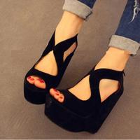 2014 spring hot selling ladies wedges shoes high heels platform sandals peep toe ankle boots women shoes 14cm