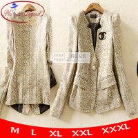 New 2014 Spring Women's Plus Size Outerwear OLSlim Gold Blazer Suit One Button M To XXXL Shoulder Pad New Arrival Ch01