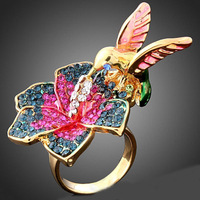 24K Gold Plated Gorgeous Alloy Ring Flower And Bird Design Fashion Crystal Wedding Rings For Women Free Shipping  MYZ040