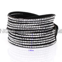 Fashionable Adjustable Button Mix-color Crystal Wrap Leather Rhinestone Bracelets