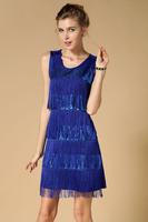 Wholesale Europe high quality Tassels Sequin evening dress, new  paillette short evening dress party Blue Dropship 9747