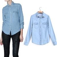 2014 New Fashion Retro Cowboy Blue Turn-down Collar Long Sleeve Women Blouse Denim Shirt Comfort Casual Jean Tops Freeshipping