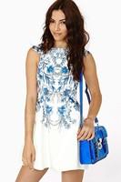 Dresses Blue And White Porcelain Short-Sleeved Summer Dress 2014 Plus Size Women Dress HDY-42