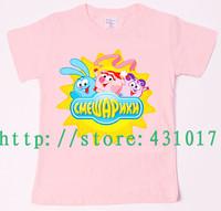 Hot selling in Russia and Ukraine Smeshariki happy ball summer cartoon children's T-shirts 2-13 Age boy's girl's kids t shirt