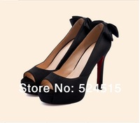 2014 fashion peep toe footwear women sexy fashion pumps bowknot cotton cloth Fish mouth zipper screen cloth shoes women boots