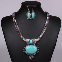 New Luxury Retro Gems Stone Big Bridal Costume Corn Chain Turquoise Jewelry Sets Wedding Earrings Necklaces & Pendants For Women