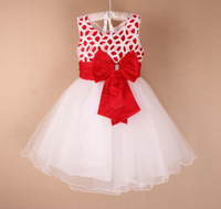 wholesale New arrive Baby girl Wedding Dress vest Dress with red bow party dress,free shipping MK06