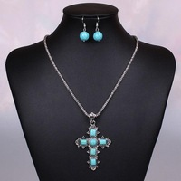 Fashion Desinger Cross Silver Chain Bridal Costume Turquoise Jewelry Sets Wedding Earrings Necklaces & Pendants For Women Party