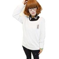 Women's Long-Sleeved Pullover 2014 Poker Print Sweatshirt Women Hoody fashion girls casual tops O-Neck t shirt Low price