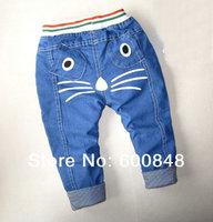 kids cute jeans pant denim trousers children wear boys girls clothing 1-4ages