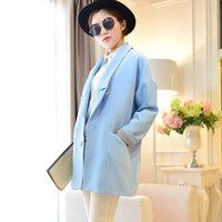 2014 new spring women's casual loose large lapel suit medium-long suit female outerwear Y2P1