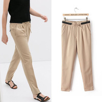 2014 spring and summer women's leather drawstring waist was thin trousers indirect(OQ-4)