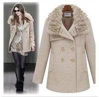 2014 new Autumn and winter women fur collar double breasted woolen outerwear medium-long wool woolen overcoat Y2P2