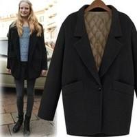 2014 new spring women fashion vintage suit jacket plus cotton thickening loose medium-long wool coat  Y2P0