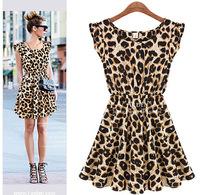 2014 new sexy dress casual dress Vestido Curto Com Estampa De Oncinha / Animal Print
