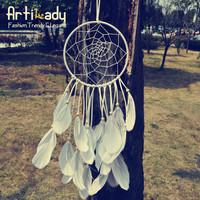 Artilady fashion jewelry big dream catcher with feather design knit charm diameter 15cm